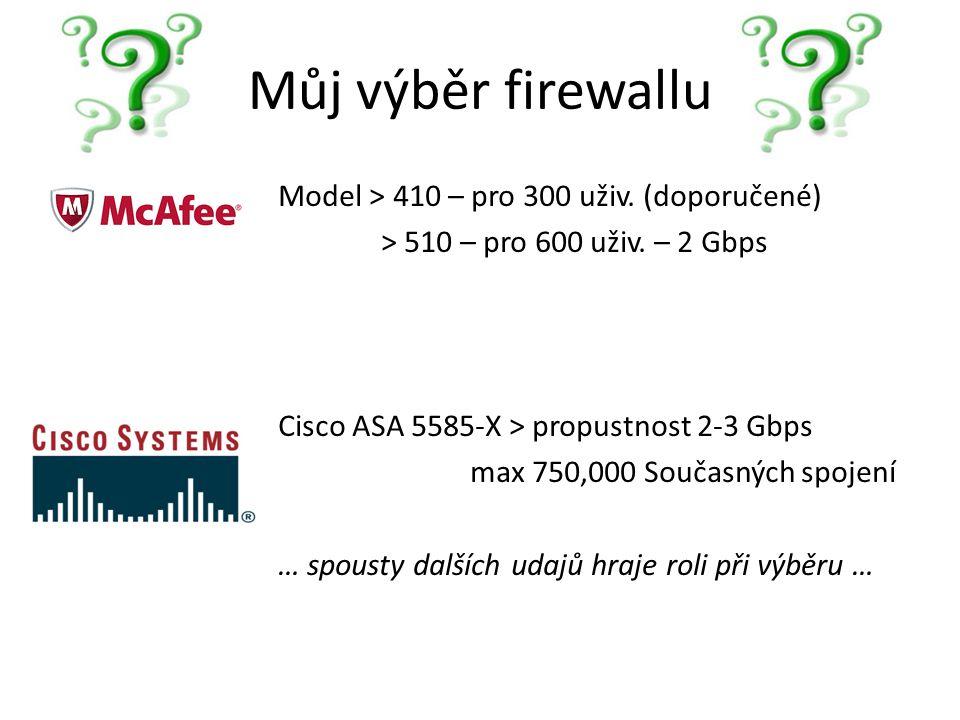 Můj výběr firewallu Model > 410 – pro 300 uživ. (doporučené) > 510 – pro 600 uživ. – 2 Gbps Cisco ASA 5585-X > propustnost 2-3 Gbps max 750,000 Součas