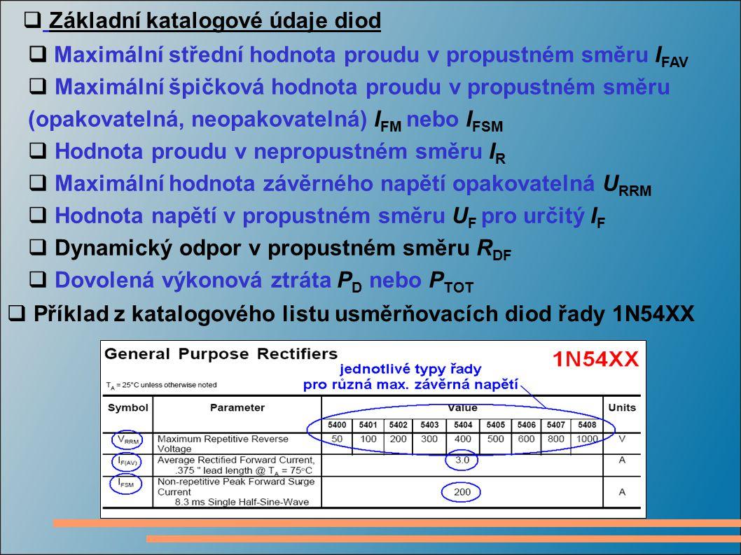  Základní katalogové údaje diod  Příklad z katalogového listu usměrňovacích diod řady 1N54XX  Maximální střední hodnota proudu v propustném směru I