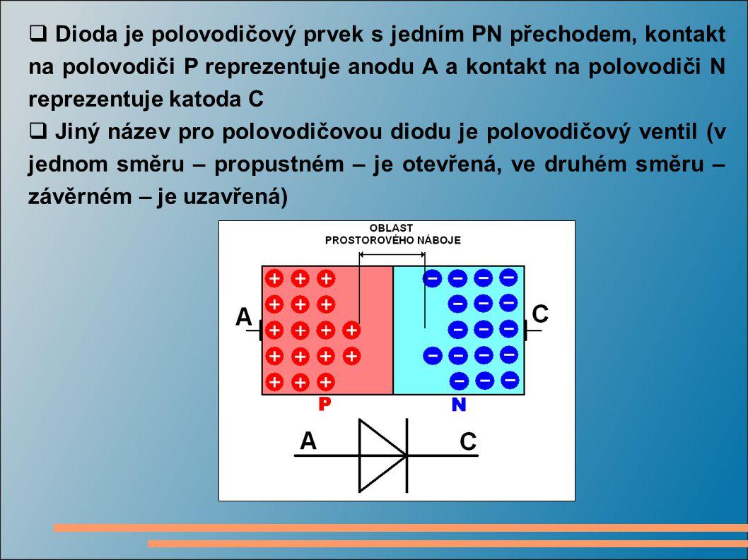  Dioda je polovodičový prvek s jedním PN přechodem, kontakt na polovodiči P reprezentuje anodu A a kontakt na polovodiči N reprezentuje katoda C  Ji