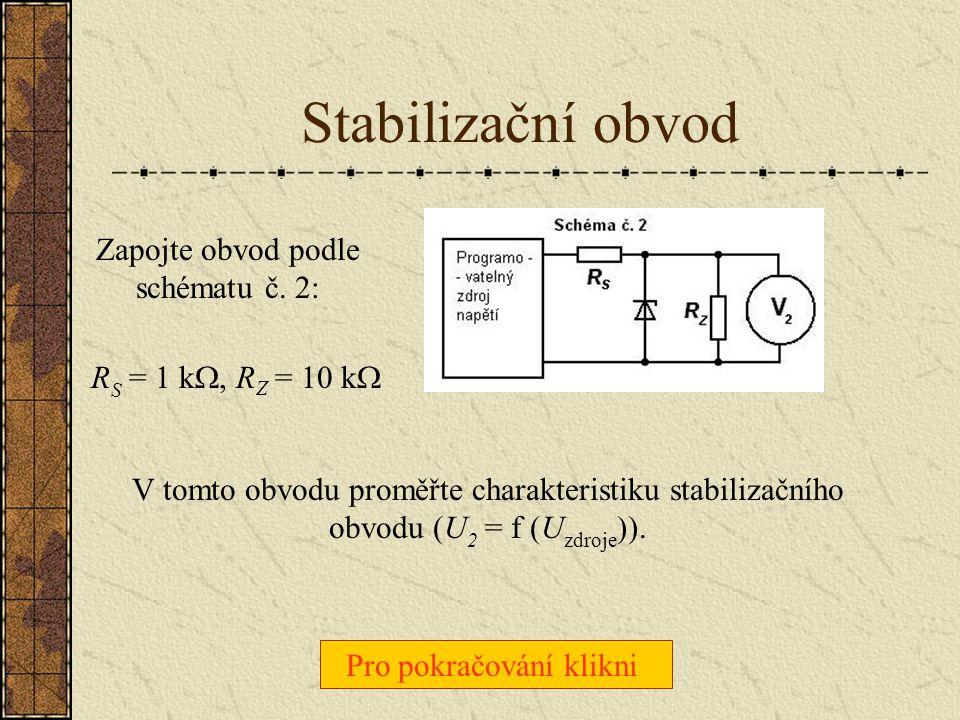 Voltampérová charakteristika Zapojte obvod podle schématu č. 1: R S = 1 k  A proměřte VA charakteristiku dané Zenerovy diody (tj. závislost U D na I