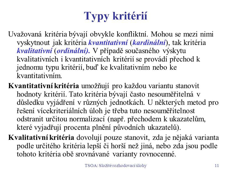 TSOA: Složité rozhodovací úlohy11 Typy kritérií Uvažovaná kritéria bývají obvykle konfliktní.