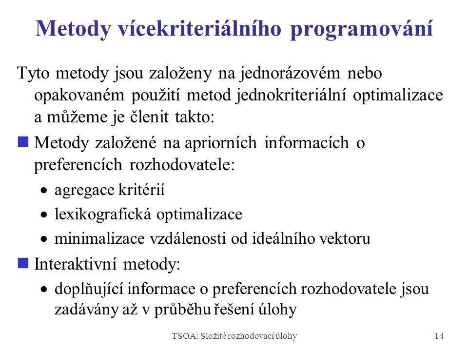 TSOA: Složité rozhodovací úlohy14 Metody vícekriteriálního programování Tyto metody jsou založeny na jednorázovém nebo opakovaném použití metod jednokriteriální optimalizace a můžeme je členit takto: Metody založené na apriorních informacích o preferencích rozhodovatele:  agregace kritérií  lexikografická optimalizace  minimalizace vzdálenosti od ideálního vektoru Interaktivní metody:  doplňující informace o preferencích rozhodovatele jsou zadávány až v průběhu řešení úlohy