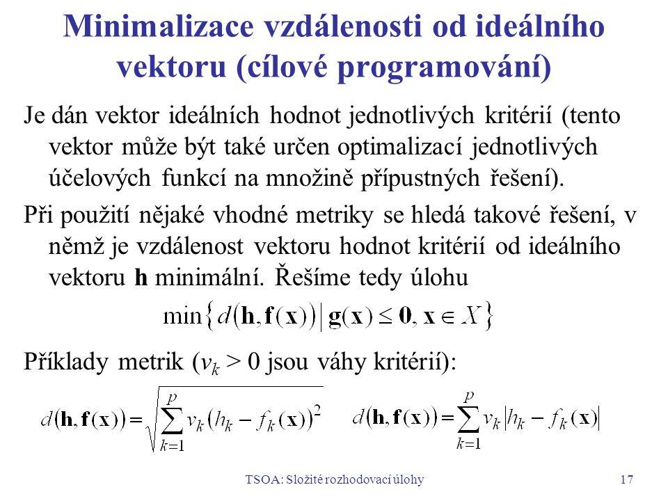TSOA: Složité rozhodovací úlohy17 Minimalizace vzdálenosti od ideálního vektoru (cílové programování) Je dán vektor ideálních hodnot jednotlivých kritérií (tento vektor může být také určen optimalizací jednotlivých účelových funkcí na množině přípustných řešení).