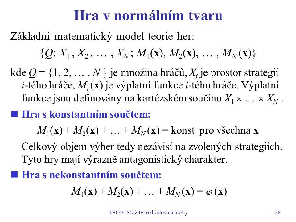 TSOA: Složité rozhodovací úlohy28 Hra v normálním tvaru Základní matematický model teorie her: {Q; X 1, X 2, …, X N ; M 1 (x), M 2 (x), …, M N (x)} kde Q = {1, 2, …, N } je množina hráčů, X i je prostor strategií i-tého hráče, M i (x) je výplatní funkce i-tého hráče.