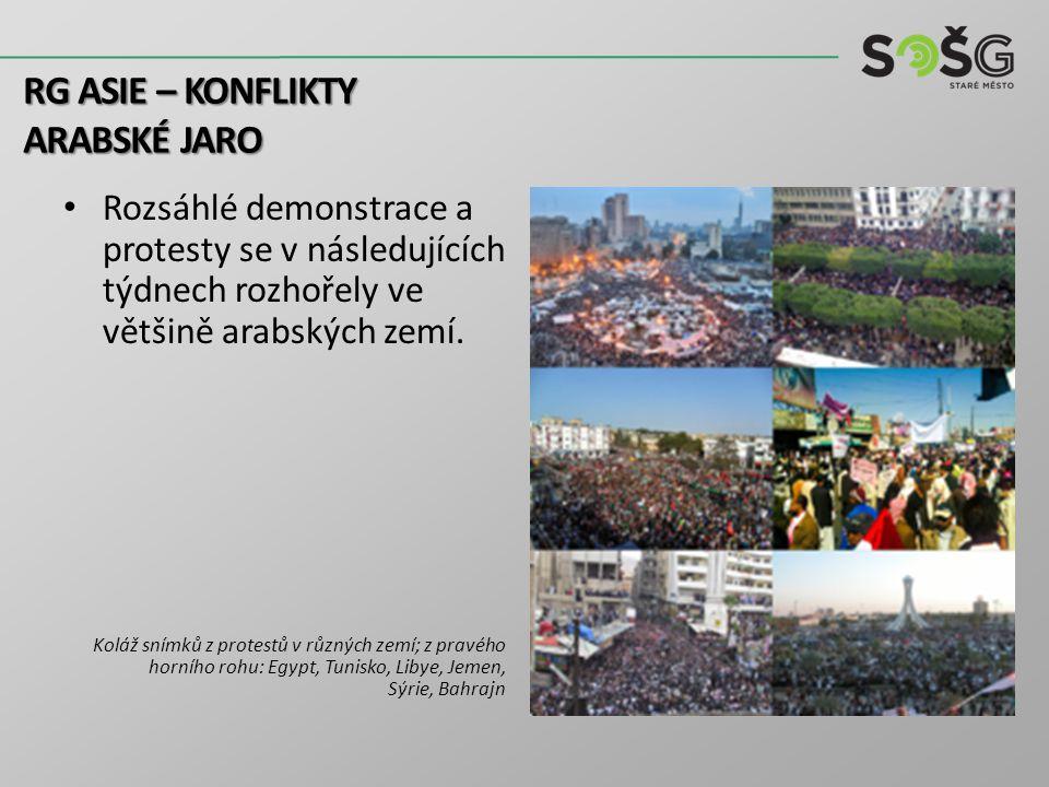 Rozsáhlé demonstrace a protesty se v následujících týdnech rozhořely ve většině arabských zemí. Koláž snímků z protestů v různých zemí; z pravého horn