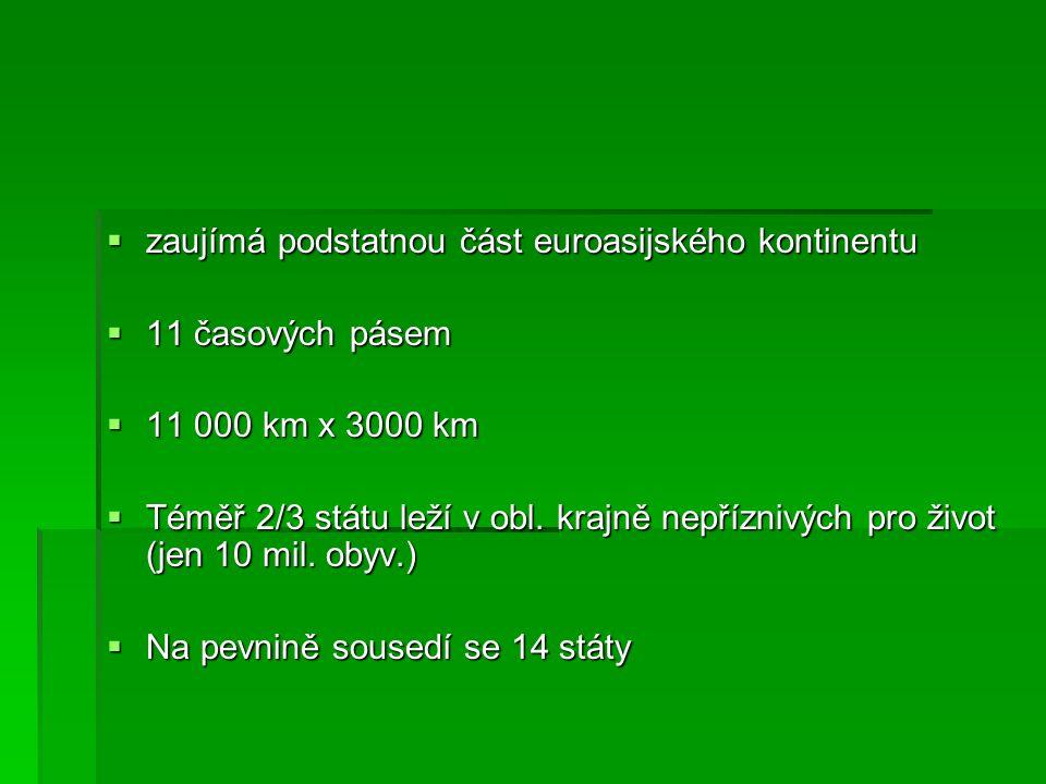  zaujímá podstatnou část euroasijského kontinentu  11 časových pásem  11 000 km x 3000 km  Téměř 2/3 státu leží v obl. krajně nepříznivých pro živ