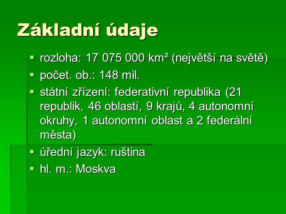 Základní údaje  rozloha: 17 075 000 km² (největší na světě)  počet. ob.: 148 mil.  státní zřízení: federativní republika (21 republik, 46 oblastí,