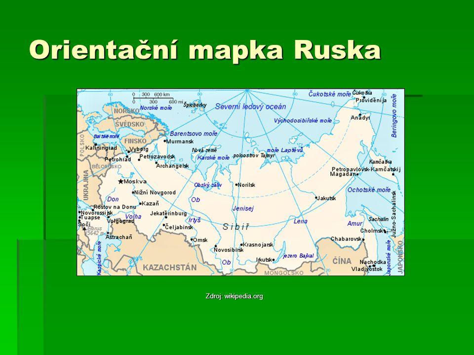 Orientační mapka Ruska Zdroj: wikipedia.org