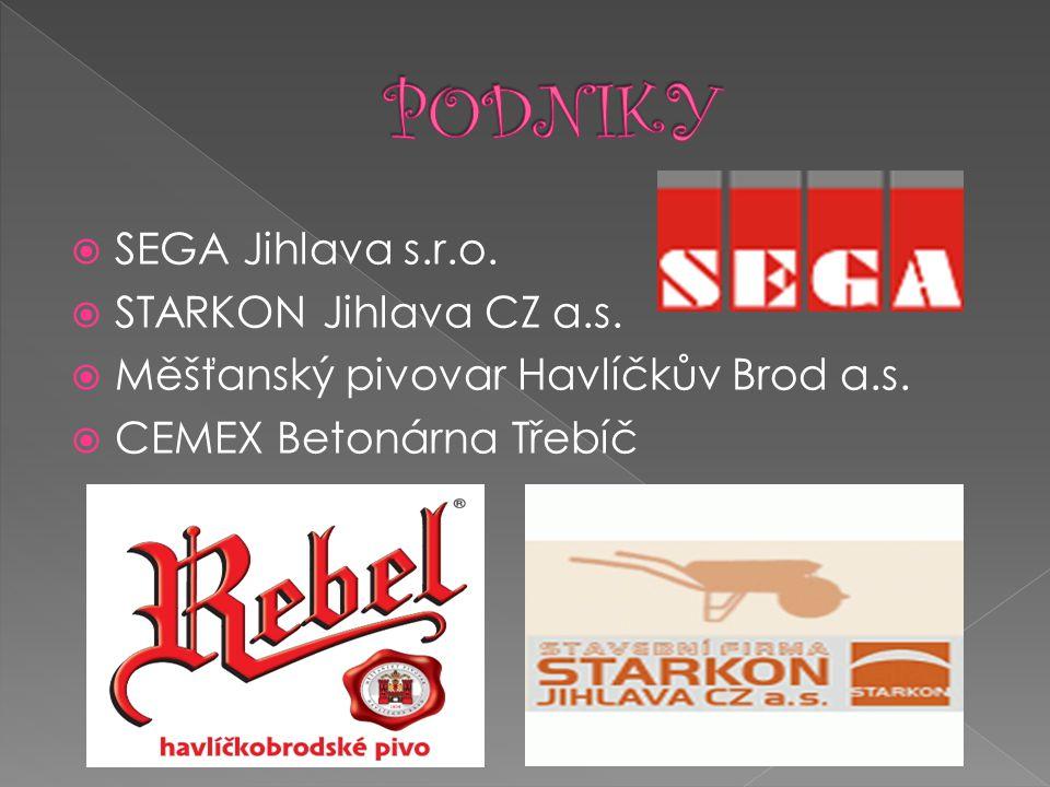  SEGA Jihlava s.r.o.  STARKON Jihlava CZ a.s.  Měšťanský pivovar Havlíčkův Brod a.s.  CEMEX Betonárna Třebíč