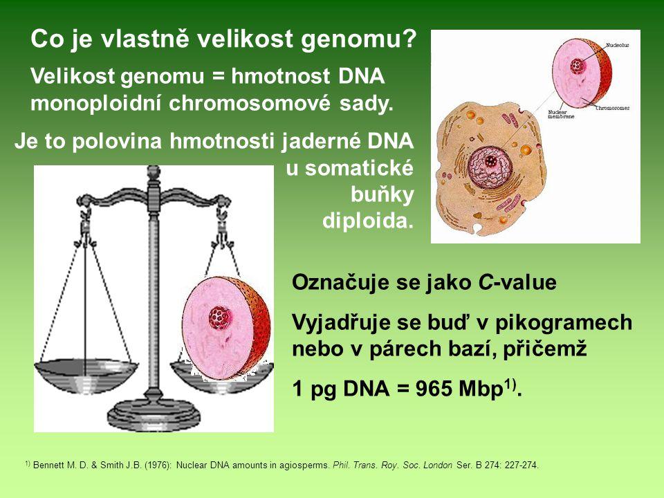 Velikost genomu = hmotnost DNA monoploidní chromosomové sady. 1) Bennett M. D. & Smith J.B. (1976): Nuclear DNA amounts in agiosperms. Phil. Trans. Ro