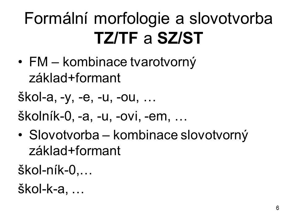 6 Formální morfologie a slovotvorba TZ/TF a SZ/ST FM – kombinace tvarotvorný základ+formant škol-a, -y, -e, -u, -ou, … školník-0, -a, -u, -ovi, -em, …