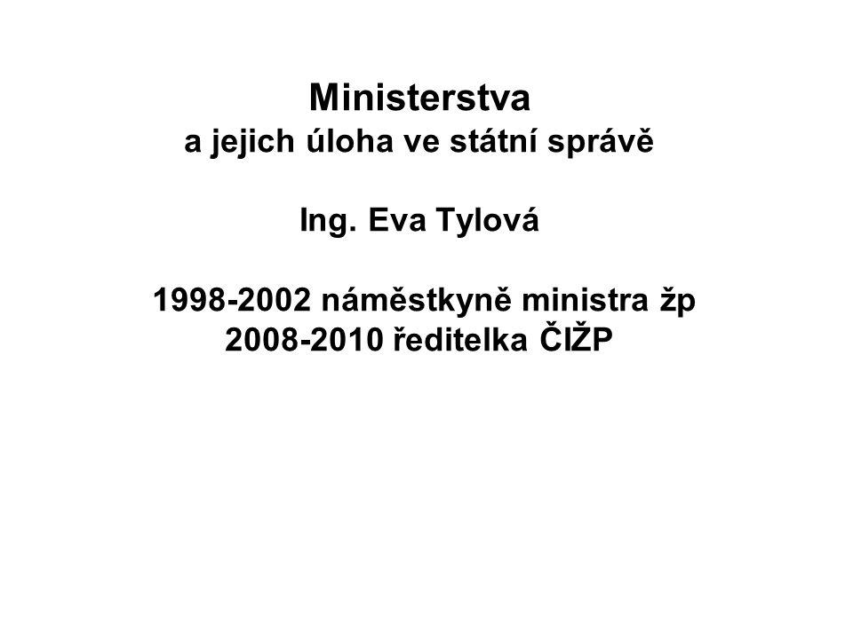 Ministerstva kompetence Zřízena zákonem Kompetenčním zákonem č.