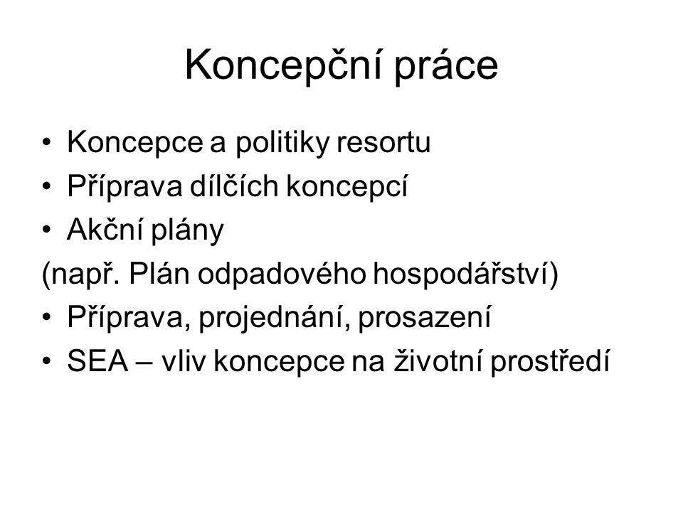 Koncepční práce Koncepce a politiky resortu Příprava dílčích koncepcí Akční plány (např.