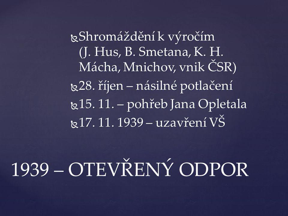  Shromáždění k výročím (J. Hus, B. Smetana, K. H. Mácha, Mnichov, vnik ČSR)  28. říjen – násilné potlačení  15. 11. – pohřeb Jana Opletala  17. 11