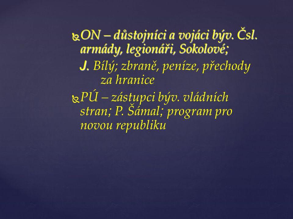  ON – důstojníci a vojáci býv. Čsl. armády, legionáři, Sokolové ; J.