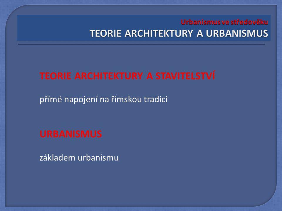 TEORIE ARCHITEKTURY A STAVITELSTVÍ přímé napojení na římskou tradici URBANISMUS základem urbanismu