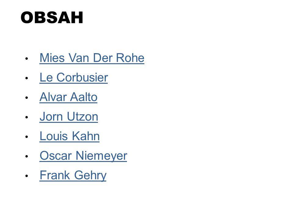OBSAH Mies Van Der Rohe Le Corbusier Alvar Aalto Jorn Utzon Louis Kahn Oscar Niemeyer Frank Gehry