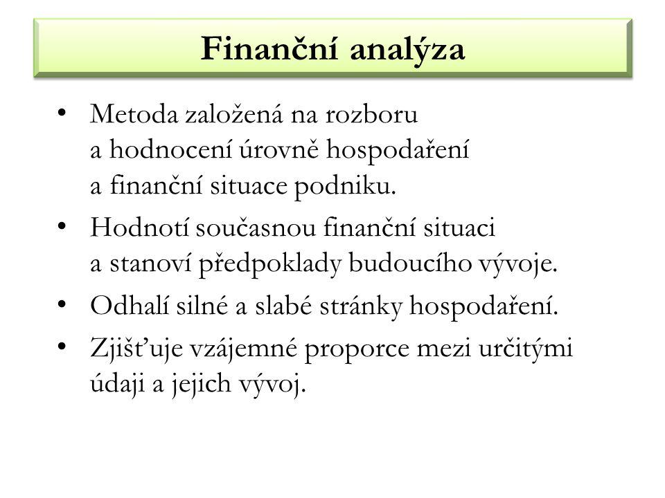 Finanční analýza Metoda založená na rozboru a hodnocení úrovně hospodaření a finanční situace podniku. Hodnotí současnou finanční situaci a stanoví př