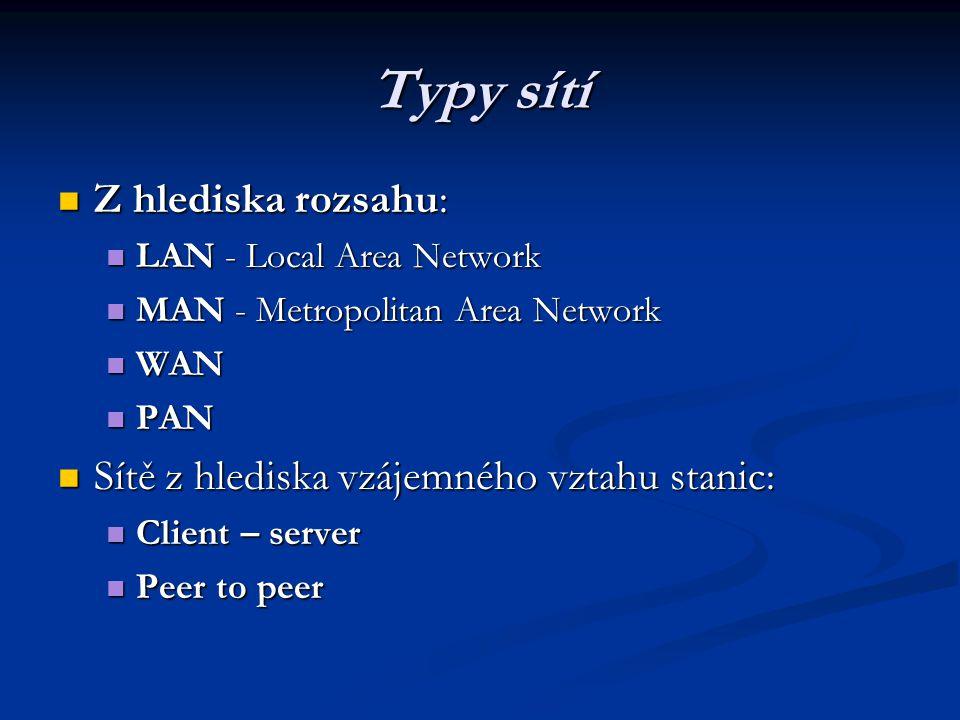 Typy sítí Z hlediska rozsahu: Z hlediska rozsahu: LAN - Local Area Network LAN - Local Area Network MAN - Metropolitan Area Network MAN - Metropolitan Area Network WAN WAN PAN PAN Sítě z hlediska vzájemného vztahu stanic: Sítě z hlediska vzájemného vztahu stanic: Client – server Client – server Peer to peer Peer to peer