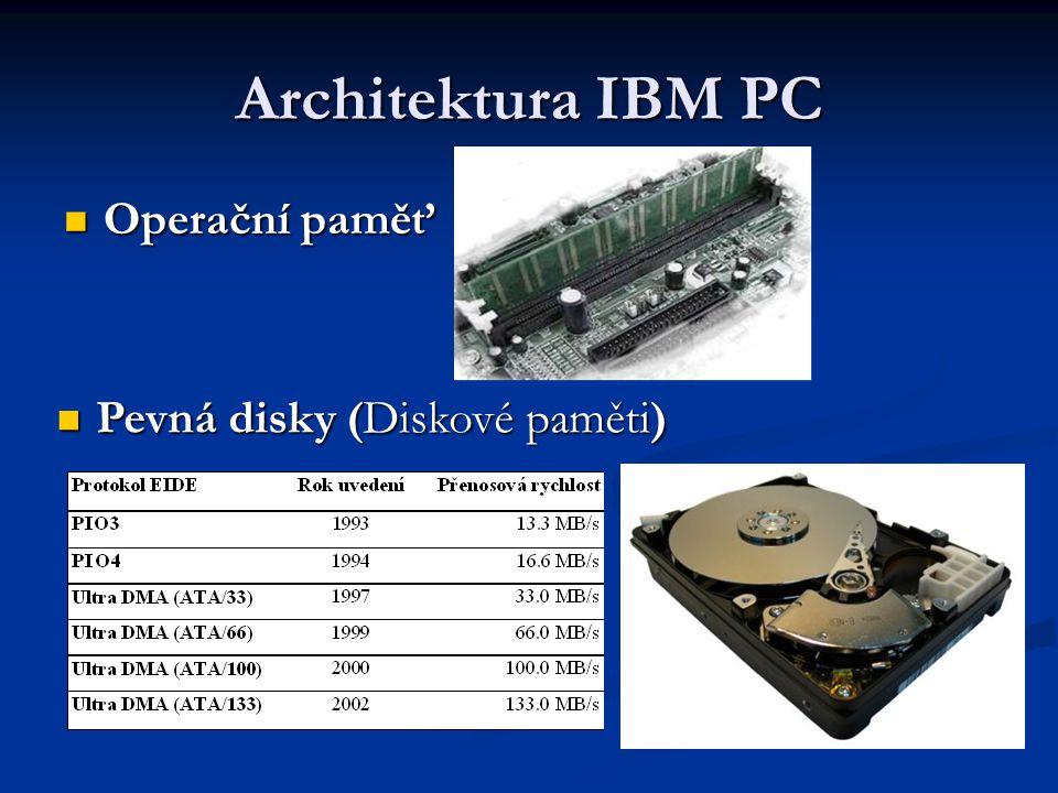Architektura IBM PC Operační paměť Operační paměť Pevná disky (Diskové paměti) Pevná disky (Diskové paměti)