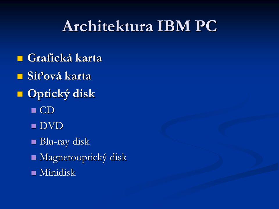 Architektura IBM PC Grafická karta Grafická karta Síťová karta Síťová karta Optický disk Optický disk CD CD DVD DVD Blu-ray disk Blu-ray disk Magnetooptický disk Magnetooptický disk Minidisk Minidisk