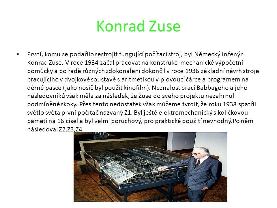 Konrad Zuse První, komu se podařilo sestrojit fungující počítací stroj, byl Německý inženýr Konrad Zuse. V roce 1934 začal pracovat na konstrukci mech