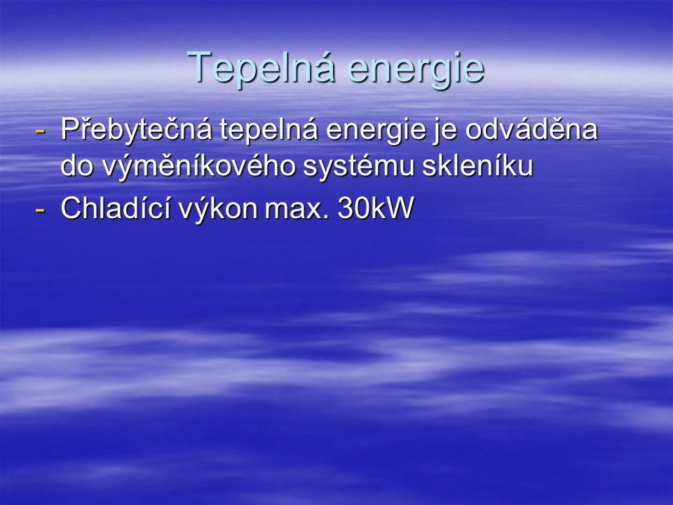 Tepelná energie -Přebytečná tepelná energie je odváděna do výměníkového systému skleníku -Chladící výkon max.