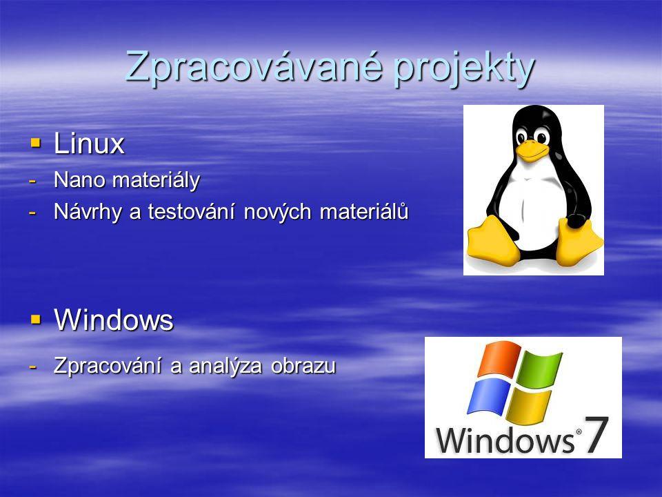 Zpracovávané projekty  Linux -Nano materiály -Návrhy a testování nových materiálů  Windows -Zpracování a analýza obrazu