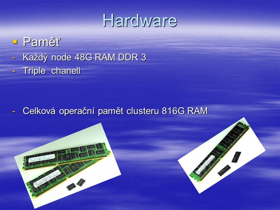 Hardware  Paměť -Každý node 48G RAM DDR 3 -Triple chanell -Celková operační pamět clusteru 816G RAM