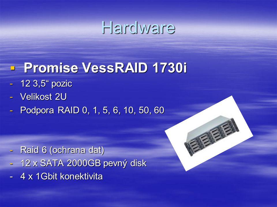 Hardware  Promise VessRAID 1730i -12 3,5 pozic -Velikost 2U -Podpora RAID 0, 1, 5, 6, 10, 50, 60 -Raid 6 (ochrana dat) -12 x SATA 2000GB pevný disk - 4 x 1Gbit konektivita