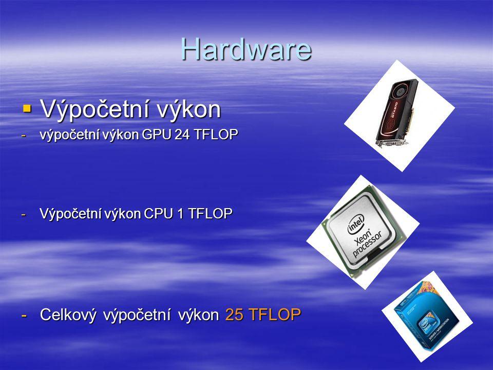 Hardware  Výpočetní výkon -výpočetní výkon GPU 24 TFLOP -Výpočetní výkon CPU 1 TFLOP -Celkový výpočetní výkon 25 TFLOP