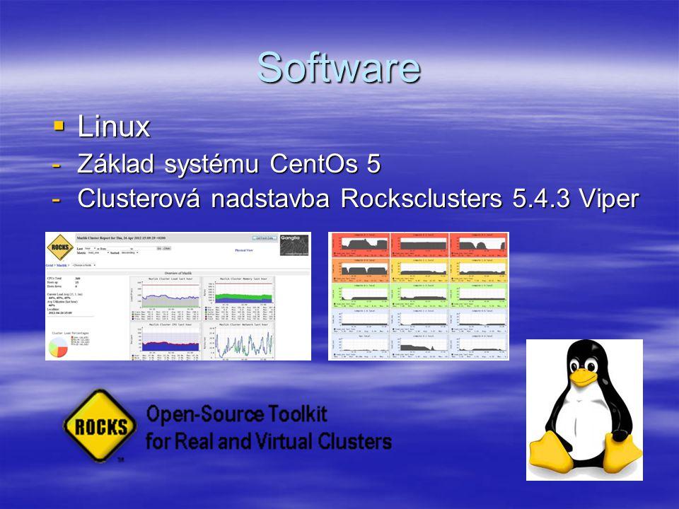 Software  Linux -Základ systému CentOs 5 -Clusterová nadstavba Rocksclusters 5.4.3 Viper