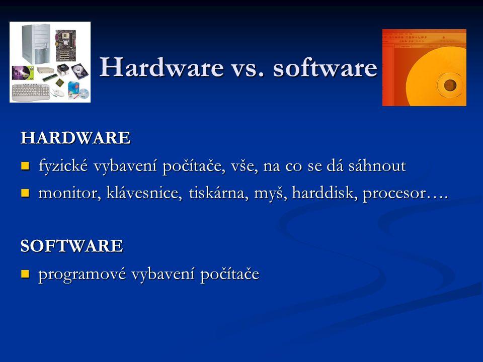 Hardware vs. software HARDWARE fyzické vybavení počítače, vše, na co se dá sáhnout fyzické vybavení počítače, vše, na co se dá sáhnout monitor, kláves