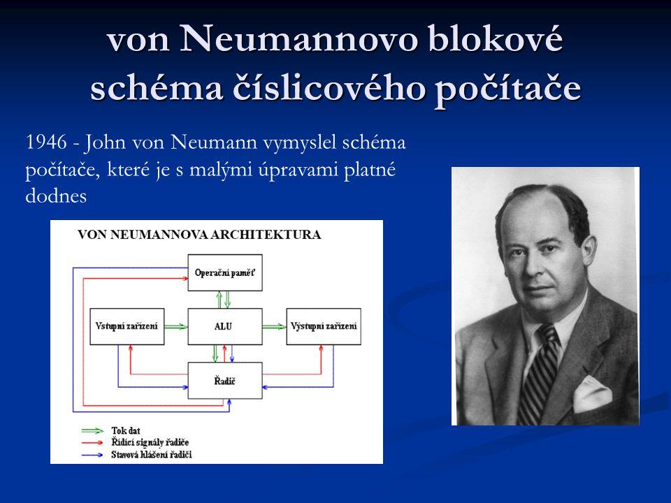 """Von Neumannovo schéma Počítač podle von Neumanna bude obsahovat paměť = operační paměť ALU (provádí vlastní operace, výpočty), řadič (řídí pořadí prováděných instrukcí = příkazů pro procesor, program = posloupnost instrukcí ) V/V zařízeni pro styk počítače s """"vnějším světem : a) vstupní zařízení určené pro vstup údajů b) výstupní zařízení sloužící pro výstup údajů z paměti"""