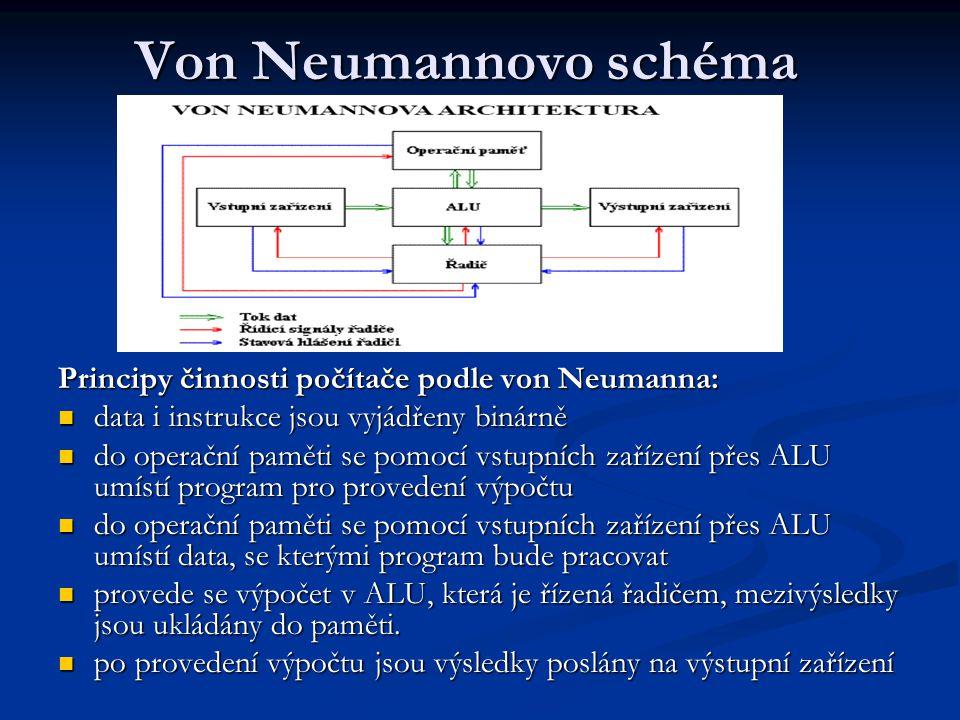 Von Neumannovo schéma 1) Úlohu zadáme vstupní jednotce v podobě dat a programu 2) Řadič iniciuje vstupní jednotku, aby mohla úlohu přijmout 3) Vstupní jednotka nahraje program i data do paměti 4) Řadič si z paměti vezme instrukci a dozví se, co má dělat