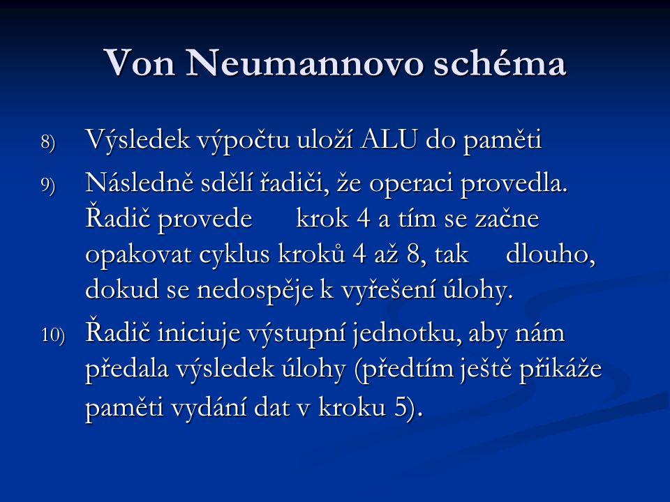 Von Neumannovo schéma 8) Výsledek výpočtu uloží ALU do paměti 9) Následně sdělí řadiči, že operaci provedla. Řadič provede krok 4 a tím se začne opako
