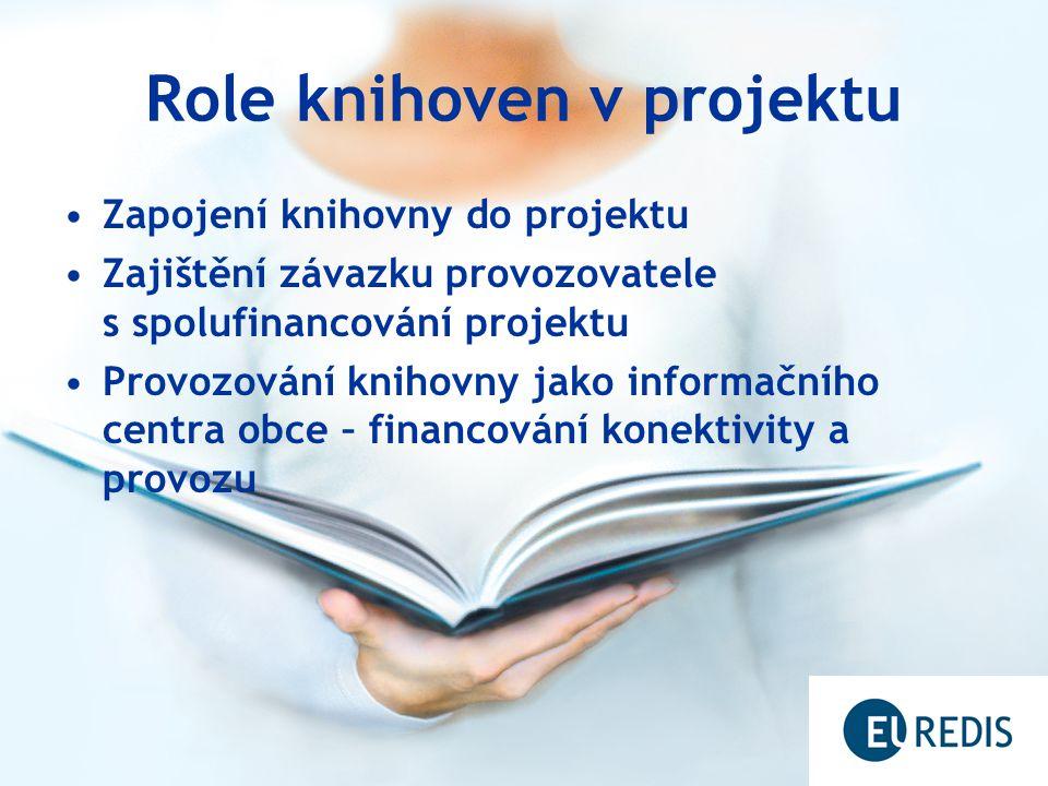 Role knihoven v projektu Zapojení knihovny do projektu Zajištění závazku provozovatele s spolufinancování projektu Provozování knihovny jako informačního centra obce – financování konektivity a provozu