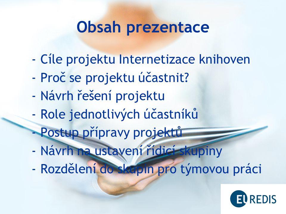 Obsah prezentace -Cíle projektu Internetizace knihoven -Proč se projektu účastnit.