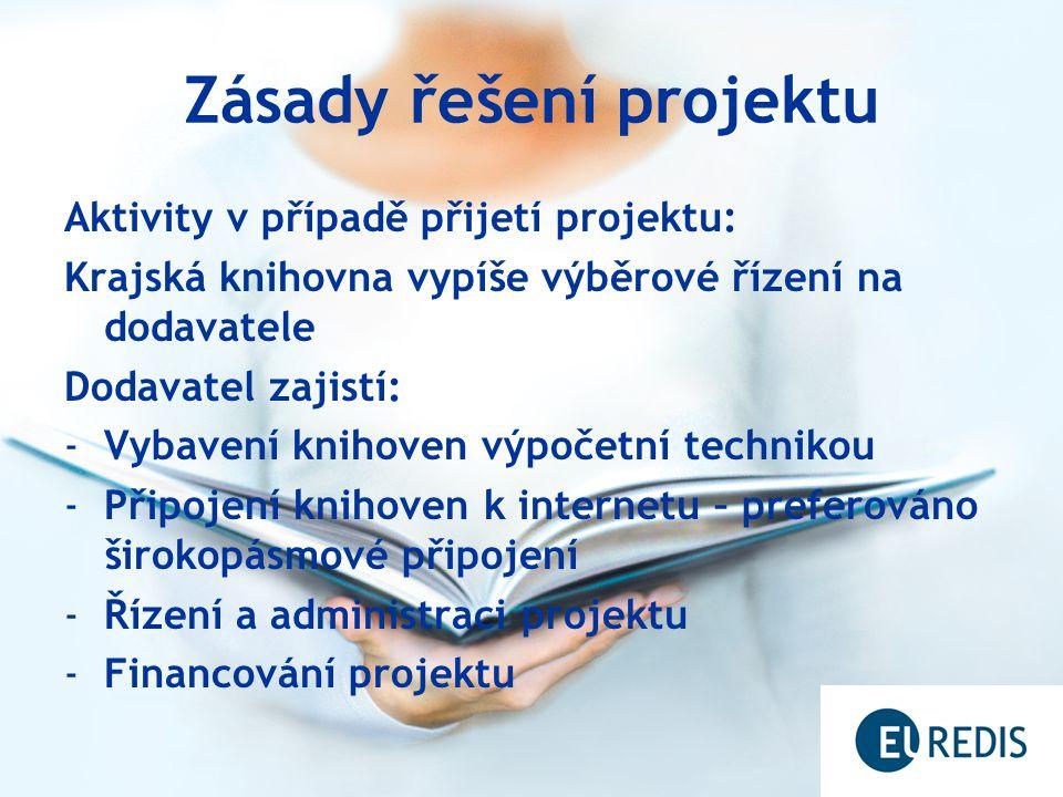 Zásady řešení projektu Aktivity v případě přijetí projektu: Krajská knihovna vypíše výběrové řízení na dodavatele Dodavatel zajistí: -Vybavení knihoven výpočetní technikou -Připojení knihoven k internetu – preferováno širokopásmové připojení -Řízení a administraci projektu -Financování projektu