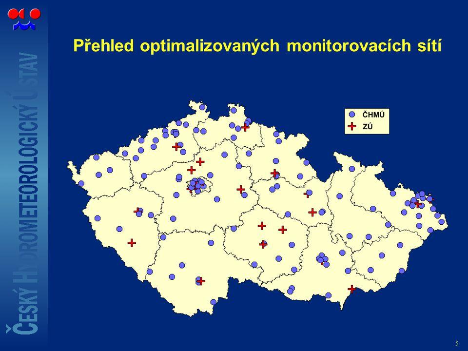 5 Přehled optimalizovaných monitorovacích sítí