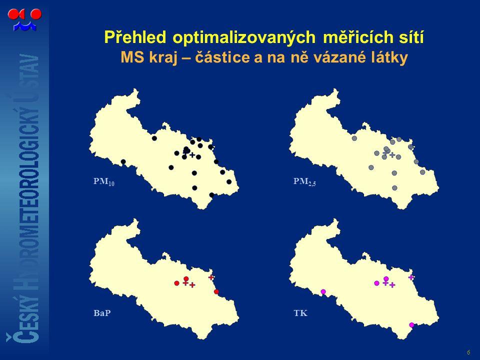 6 Přehled optimalizovaných měřicích sítí MS kraj – částice a na ně vázané látky PM 10 TK PM 2,5 BaP
