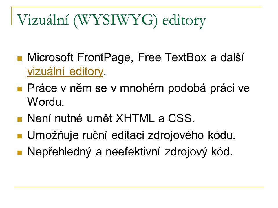 Vizuální (WYSIWYG) editory Microsoft FrontPage, Free TextBox a další vizuální editory. vizuální editory Práce v něm se v mnohém podobá práci ve Wordu.