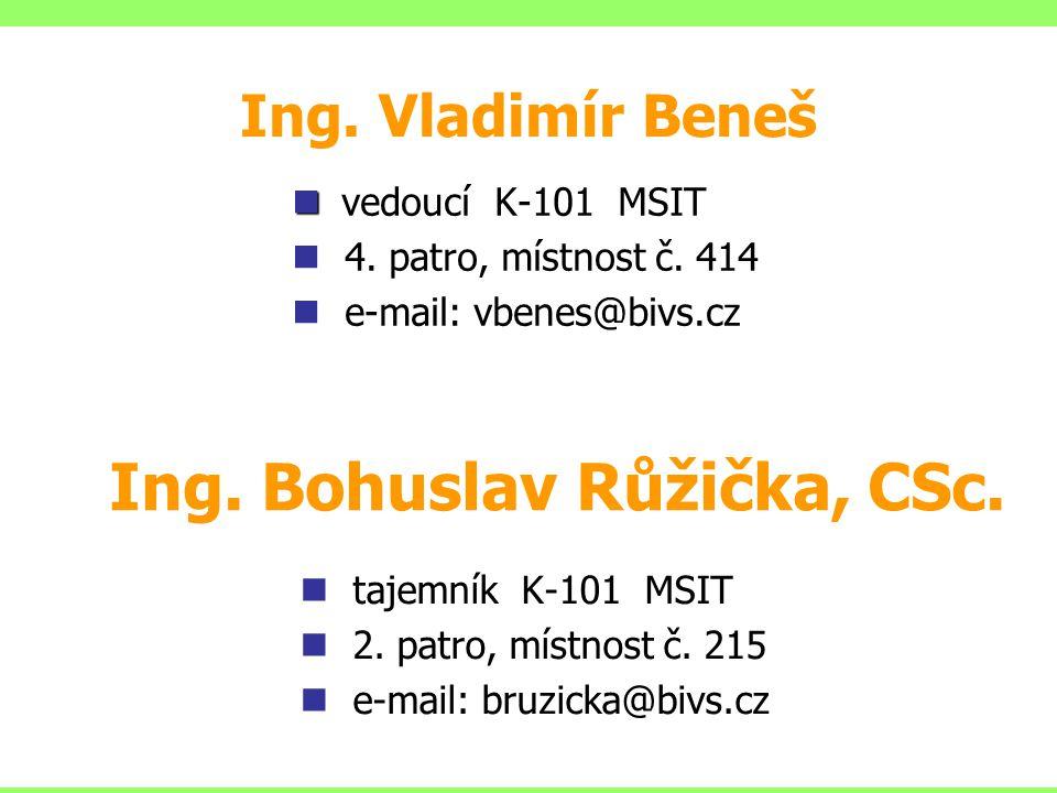 Ing.Bohuslav Růžička, CSc. tajemník K-101 MSIT 2.