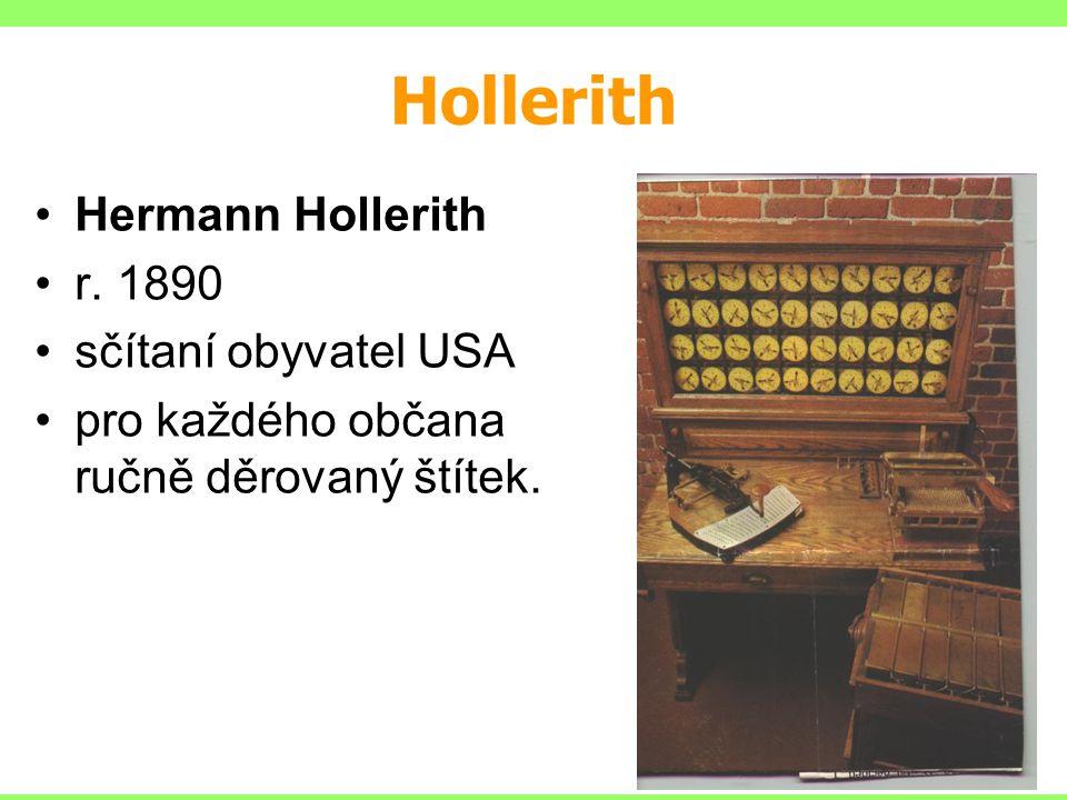 Hollerith Hermann Hollerith r. 1890 sčítaní obyvatel USA pro každého občana ručně děrovaný štítek.