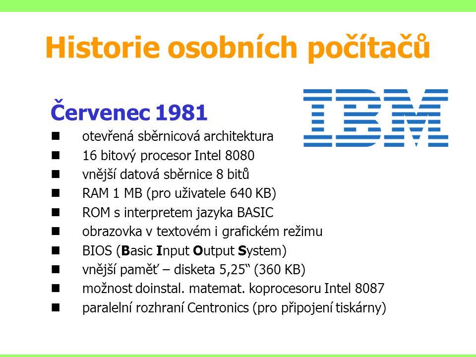 Červenec 1981 otevřená sběrnicová architektura 16 bitový procesor Intel 8080 vnější datová sběrnice 8 bitů RAM 1 MB (pro uživatele 640 KB) ROM s interpretem jazyka BASIC obrazovka v textovém i grafickém režimu BIOS (Basic Input Output System) vnější paměť – disketa 5,25 (360 KB) možnost doinstal.
