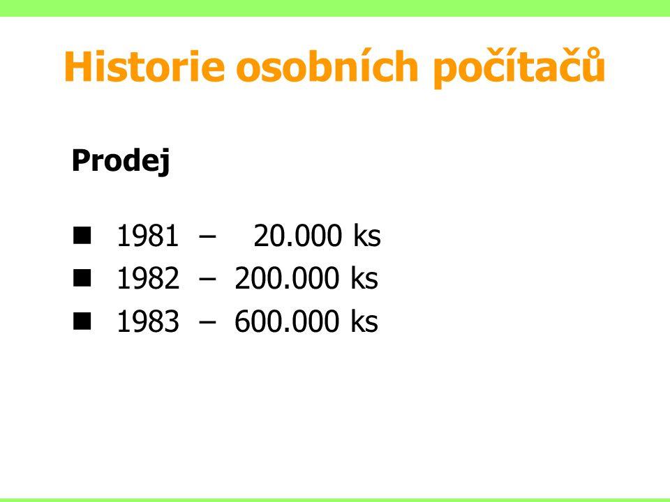 Prodej 1981 – 20.000 ks 1982 – 200.000 ks 1983 – 600.000 ks Historie osobních počítačů