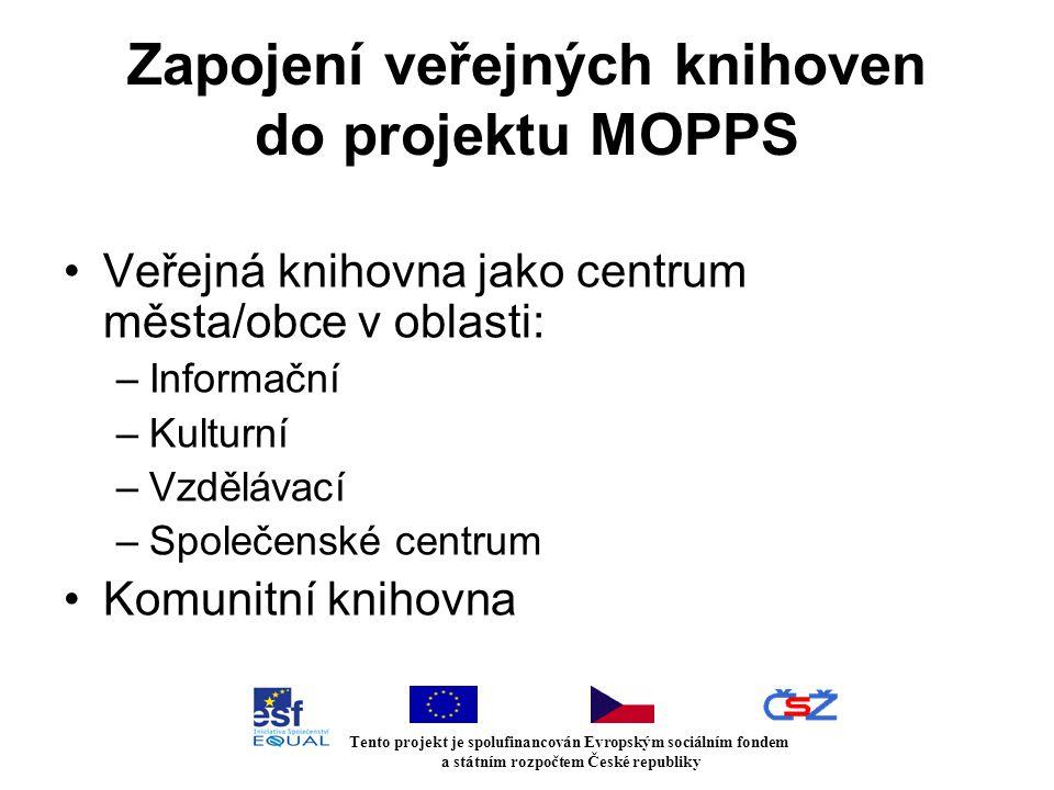 Zapojení veřejných knihoven do projektu MOPPS Veřejná knihovna jako centrum města/obce v oblasti: –Informační –Kulturní –Vzdělávací –Společenské centrum Komunitní knihovna Tento projekt je spolufinancován Evropským sociálním fondem a státním rozpočtem České republiky