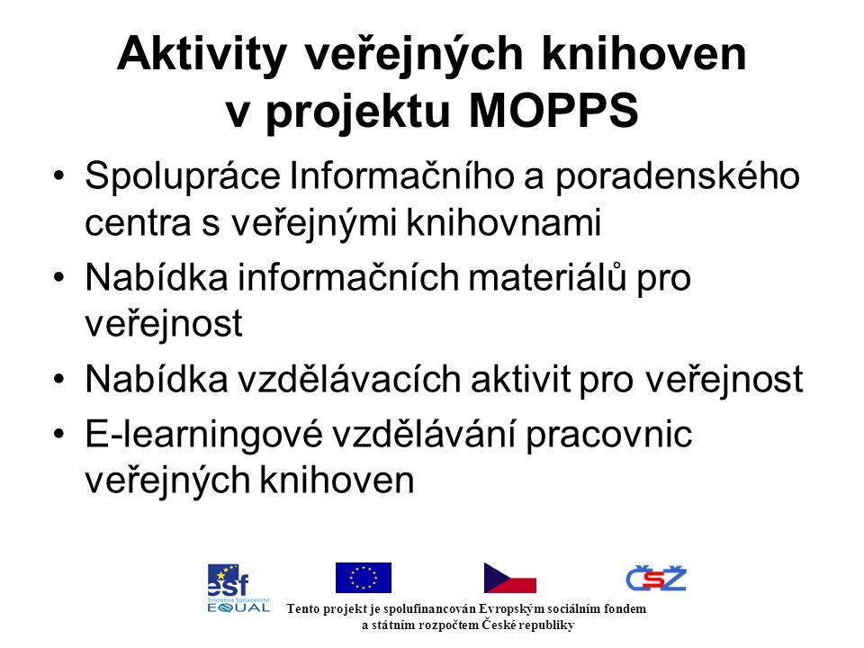 Aktivity veřejných knihoven v projektu MOPPS Spolupráce Informačního a poradenského centra s veřejnými knihovnami Nabídka informačních materiálů pro veřejnost Nabídka vzdělávacích aktivit pro veřejnost E-learningové vzdělávání pracovnic veřejných knihoven Tento projekt je spolufinancován Evropským sociálním fondem a státním rozpočtem České republiky