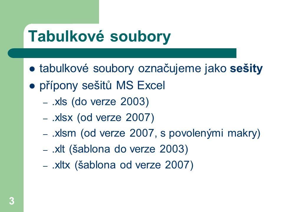 3 Tabulkové soubory tabulkové soubory označujeme jako sešity přípony sešitů MS Excel –.xls (do verze 2003) –.xlsx (od verze 2007) –.xlsm (od verze 200
