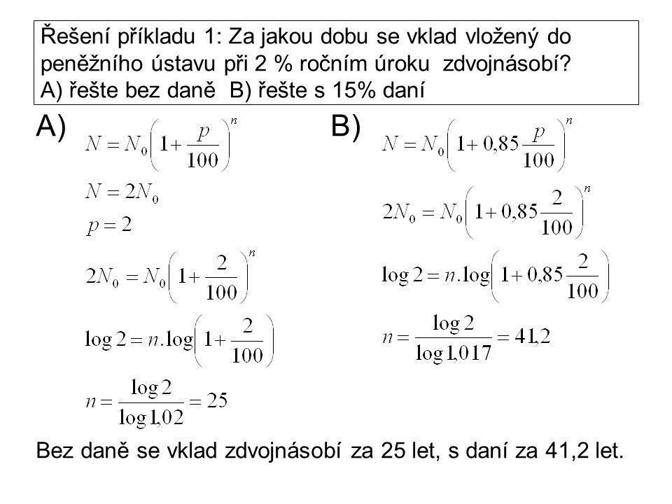 Řešení příkladu 1: Za jakou dobu se vklad vložený do peněžního ústavu při 2 % ročním úroku zdvojnásobí? A) řešte bez daně B) řešte s 15% daní A) B) Be